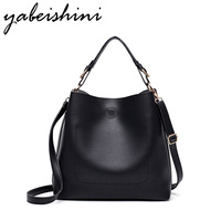 KMFFLY Women Shoulder Bags High Quality 2017 Big Bucket Black Super Fiber Pu Leather Handbag Casual