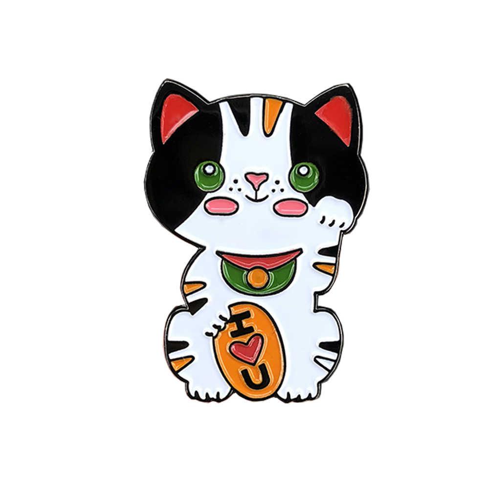 Maneki neko 일본 럭키 고양이 에나멜 핀 Good Luck brooch