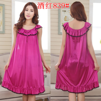2018 Womens Summer Loose Long Sleepwear Plus Size Ladies Sexy Satin Lace Nightdress Girls Robe Ruffle Sleepshirts Nightgowns 2