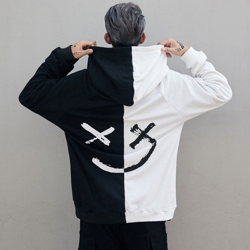 Men Sweatshirt Hoodie Men Teen's Contrast Color Smily Face Fashion Print Hoodies Sweatshirt Jacket Pullovers 2019 Autumn Winter