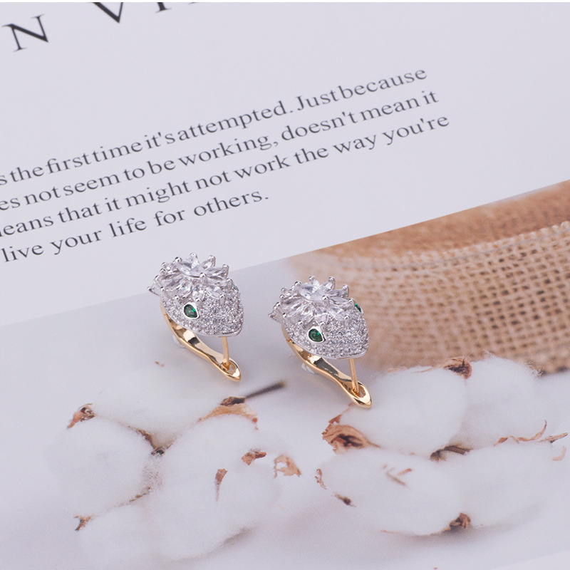 Hot Selling New Snake Earrings with Zircon Elastic Buckle Snake Ear Studs Creative Personality Earrings(China)