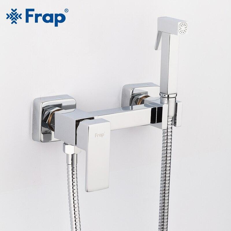 Frap Bidet toilette nouveau laiton massif Chrome poche Portable Bidet ensemble de douche avec eau chaude et froide Bidet robinet mélangeur F7504