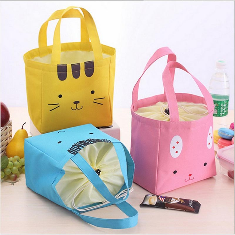 2017 New Cartoon Portable Thermal Lunch Box Insulated Canvas Lunch Bag for Women Kids Lunch Bag Picnic Cooler Tote Storage Bag