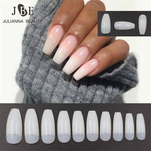 500PCS Professional Fake Nails Long Ballerina Half French Acrylic ...