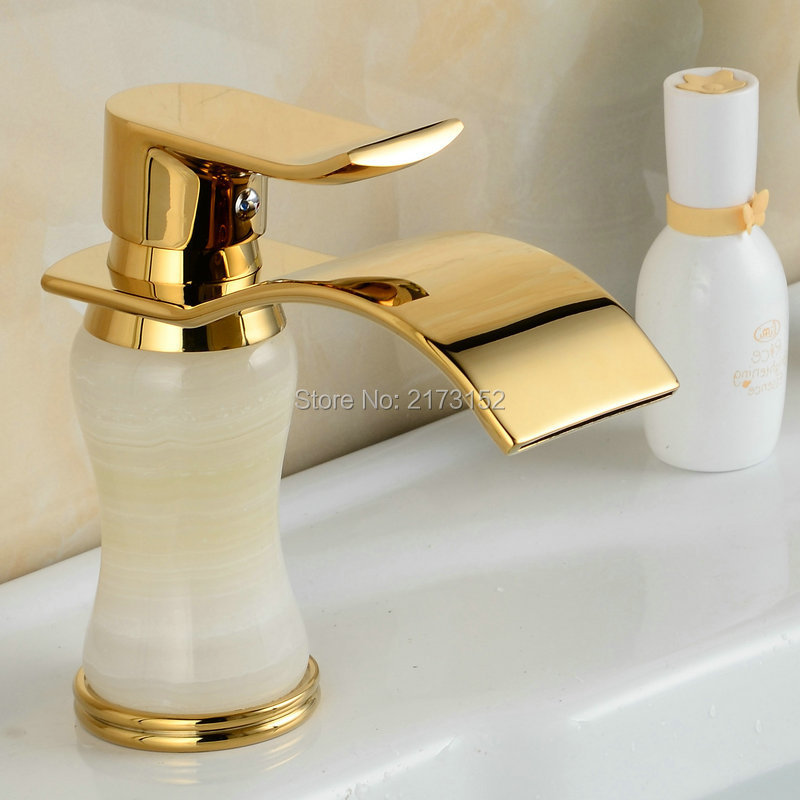 Free Shipping Fancy Style Gold Plated Bathroom Sink Mixer Tap White Marble Body Golden Basin