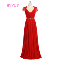 Red 2017 Formal Celebrity Dresses A Line V Neck Cap Sleeves Floor Length Chiffon Lace Evening
