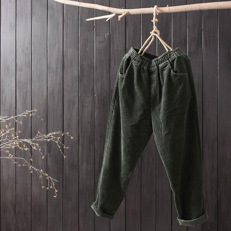 Littéraire Lâche vert Pieds Multi Velours De Rétro Noir Femmes Harem Fan Solide poche Occasionnel kaki Couleur gris Pantalon Mori rypFvrq