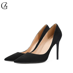 GOXEOU 2018 Shoes Women 10cm  Pointed Toe Stiletto Heels Pumps Ladies Stylish High Heels Shoes Faux Suede Sapato size32-46