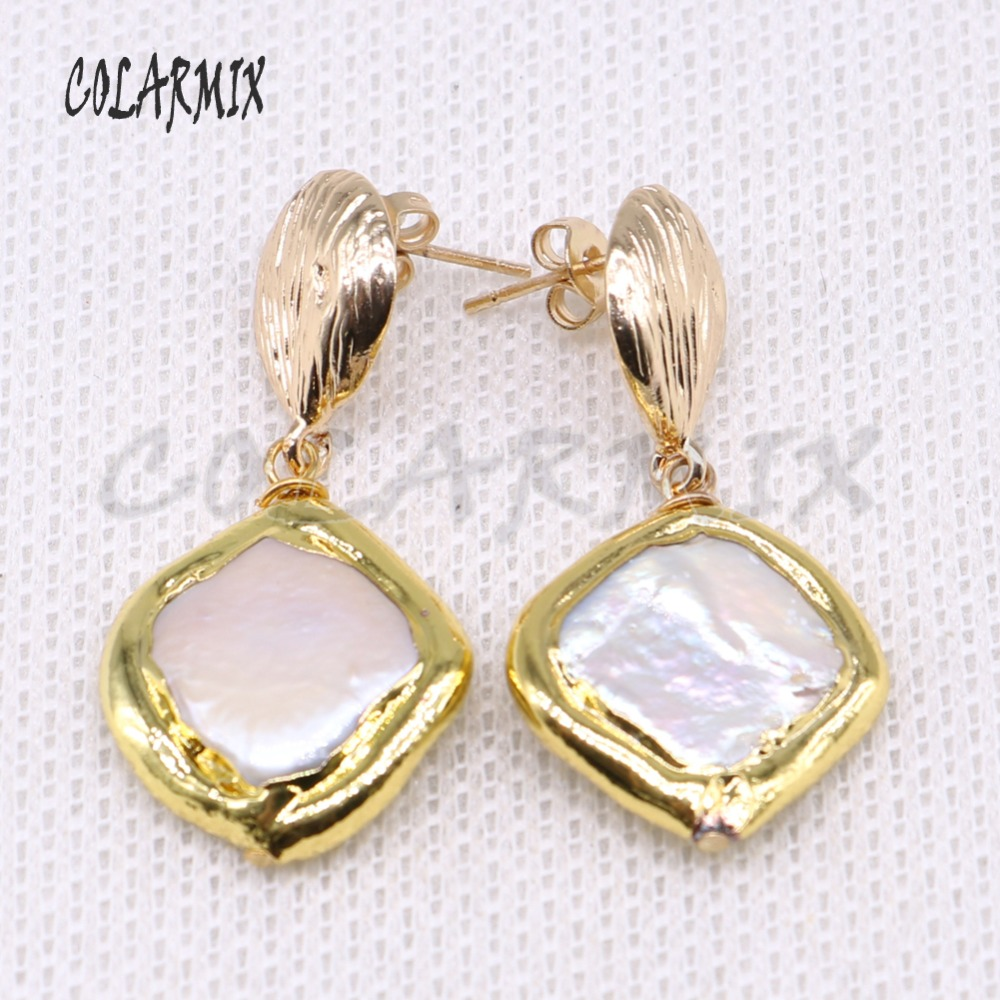 Wholesale Gold color Plated pearls earrings Square pearls earrings High quality pearls earrings elegant Gift for lady 4035
