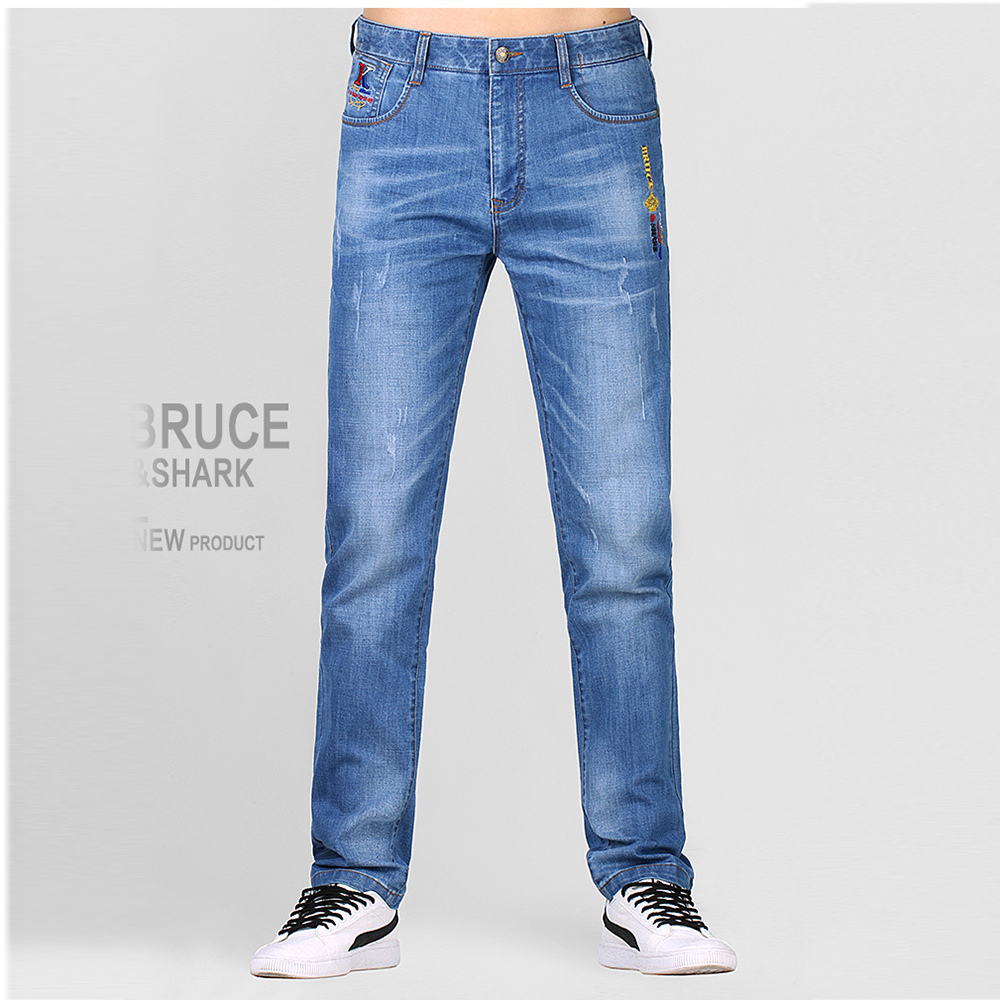 New Jeans Men Jeans Fashion Casual High Quality Embroidery Straight Leg Thin Sofeten Stretching Cotton Big SIZE 28 TO 42 8262