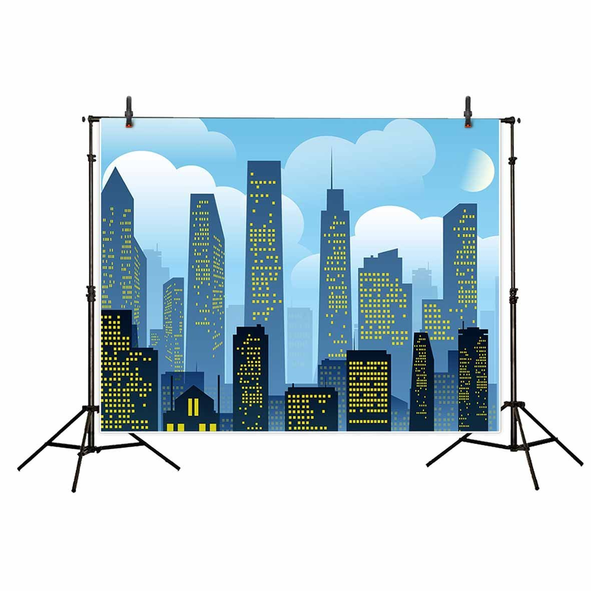 Cartoon Blue Sky White Clouds Super City Skyline Baby Shower backdrop polyester or Vinyl cloth Computer print wall Background