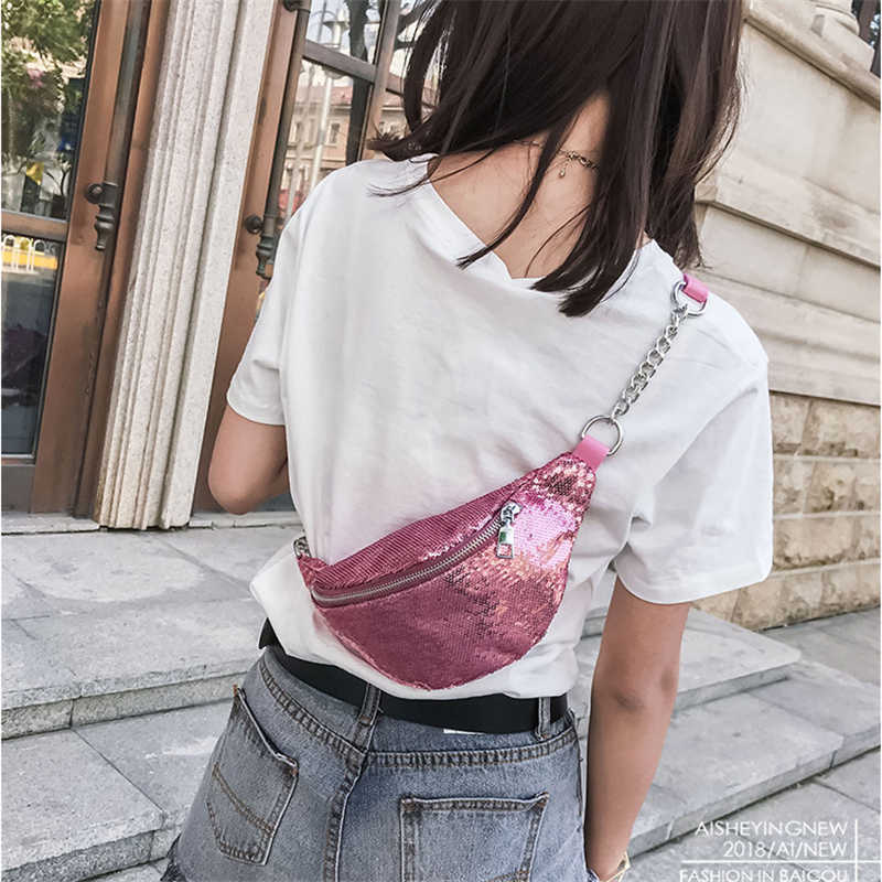 135d33ee84f9 Women Shining Chest Bag Fashion Paillette Fanny Pack Coin Purse Hip  Waistband Banana Bags Chain Crossbady Cool Phone Packs!