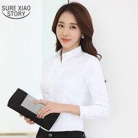 2017 moda camisa branca feminino completo manga blusa profissional slim tops Estilo Coreano macacão desgaste Do Escritório tops 892i 30