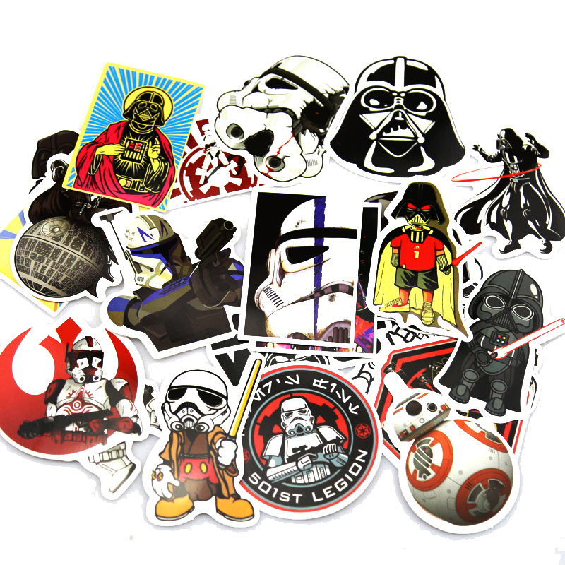 25 pcs star wars stickers luggage laptop sticker styling skateboard diy doodle decals home darth vader waterproof sticker toys in stickers from toys