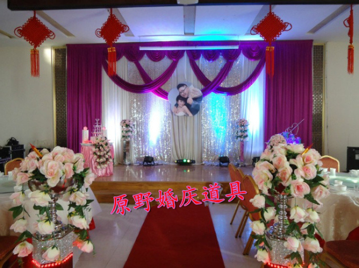 Wedding White Backdrops With Luxurious Purple Swag For Decorations 3m 6m Stage Curtain Sequin In Party From Home Garden On