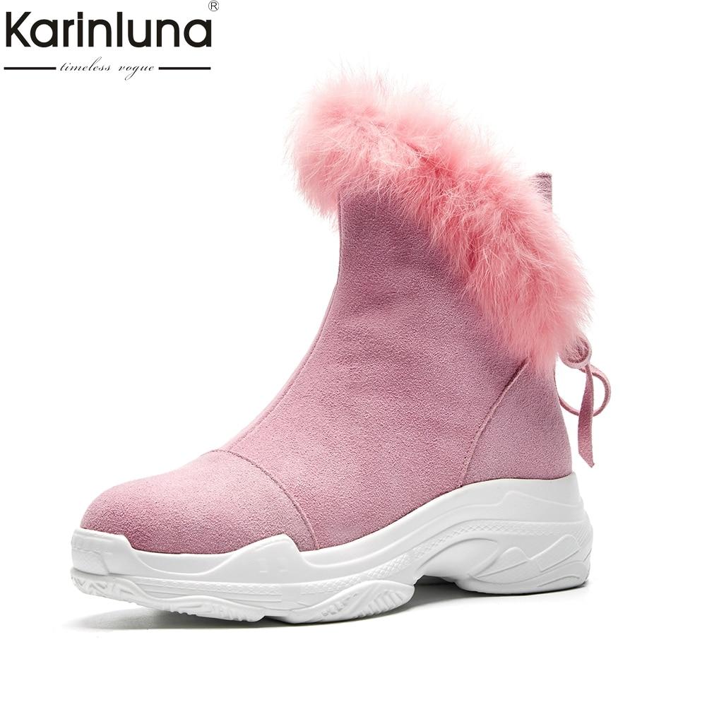 Cheville Chaude rose 2018 Neige Suède En Femmes Vache Hiver Russie Fourrure forme marron Gros Plate Cuir Bottes Chaussures Karinluna Noir De MpzSUV