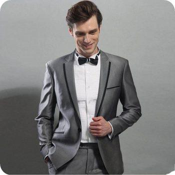 Fashionable One Button Dark Grey Groom Tuxedos Groomsmen Notch Lapel Mens Suits Blazers (Jacket+Pants+Tie) W:920