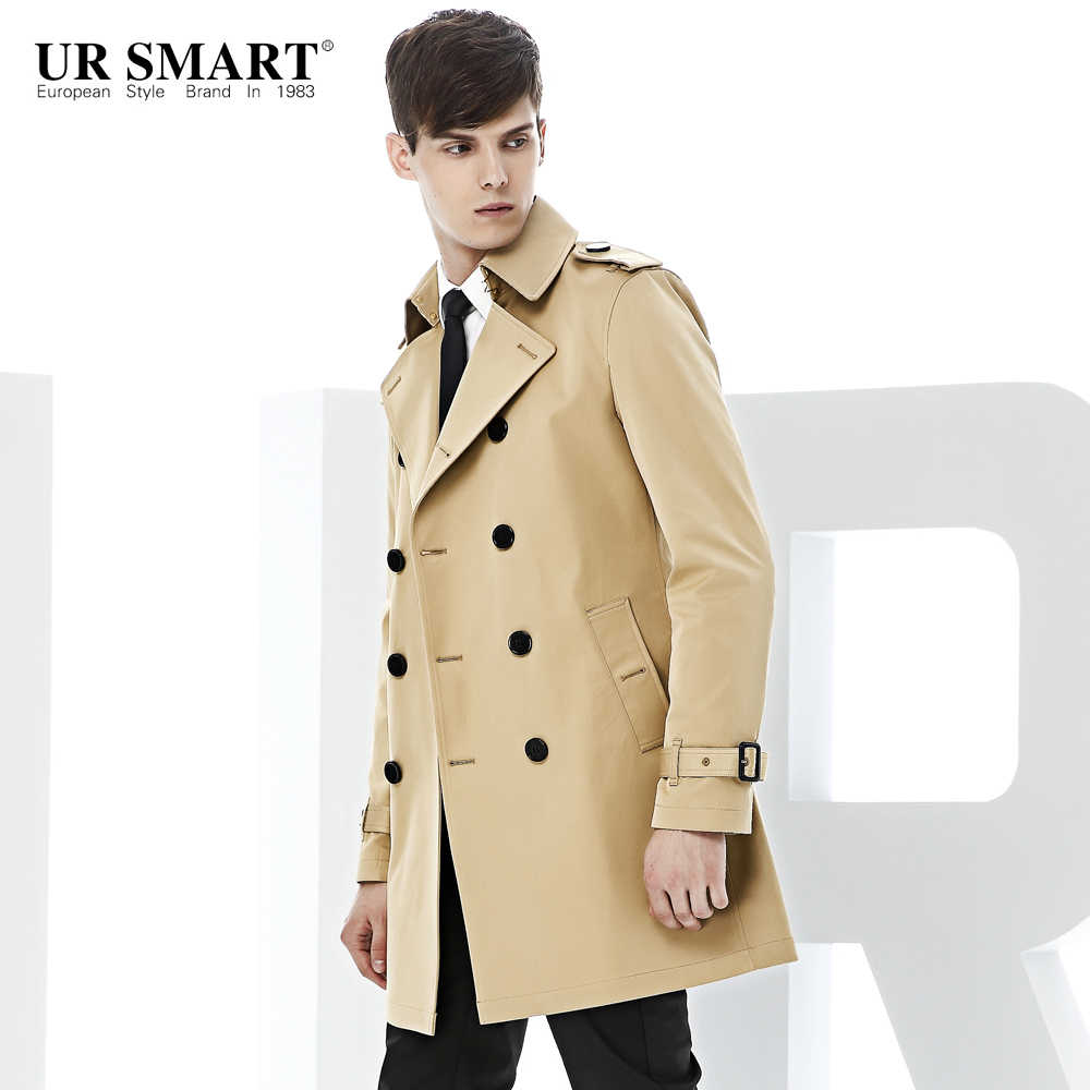 URSMART paragraph double-breasted coat dust coat grows in men's windbreaker male khaki weather-proof trench coat