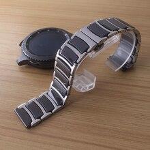 Ремешок керамический из нержавеющей стали для наручных часов, черный полированный тоньше браслет с пряжкой бабочкой, 20 мм 22 мм