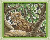 Leopard Cougar Animal Cotton DMC Cross Stitch Kits 14ct White 11ct Printed Embroidery DIY Handmade Needle