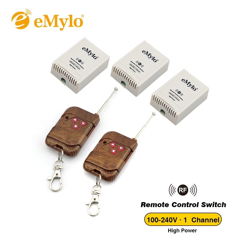 eMylo RF AC 100-240V 2500W Smart Wireless Remote Control Light Switch 3 buttons Transmitter &3X 1 Channel Relays latched Switch new design y a4e 1000wx4 4 channel rf remote control wireless switch white 200 240v