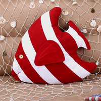 Mediterranean Style Striped Fish Shaped Cushion Creative Cotton Linen Pillow For Home Sofa Car Decoration Kids Toy