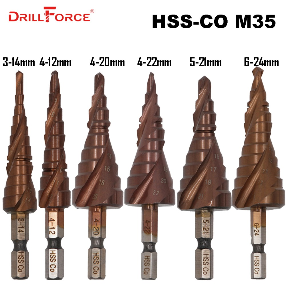 HSS M35 5% Cobalt Step Drill Bit HSSCO High Speed Steel Cone Hex Shank Metal Drill Bits Tool Set Hole Cutter For Stainless Steel