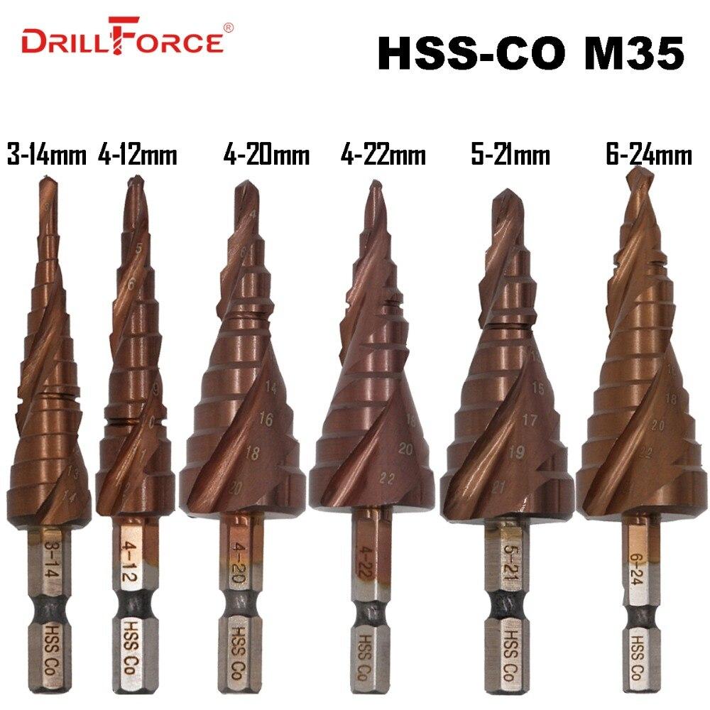 HSS M35 5% Cobalt Step Drill Bit HSSCO High Speed Steel Cone Hex Shank Metal Drill Bits Tool Set Hole Cutter For Stainless Steel