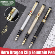 Free Shipping Brand Hero Metal Fountain Pen Business Executive Dragon Crystal Diamond Writing Ink Pen Buy 2 Pens Send Gift free shipping picasso t908 0 5 ink high grade business iridium pen metal brand gift calligraphy fountain pen wholesale
