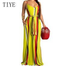 TIYE Yellow Loose Vintage Bohemian Maxi Dress Women O Neck Sleeveless Spaghetti Strap Summer Casual Vocation Long