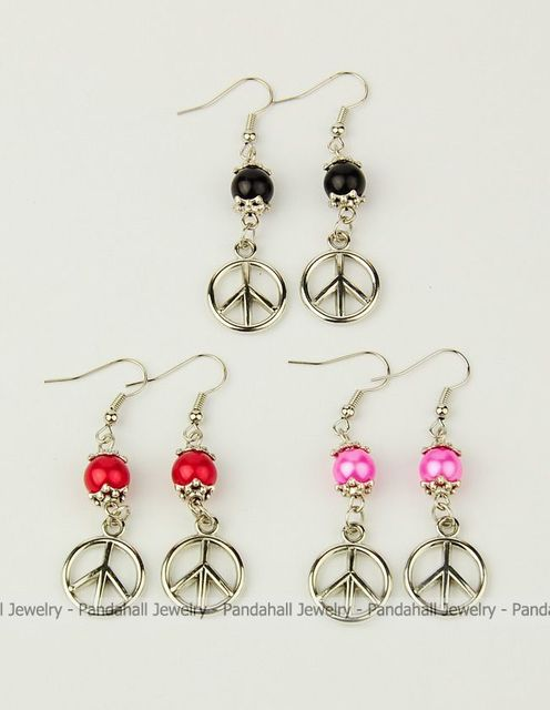 Fashion glass pearl earrings with peace sign ccb acrylic pendants fashion glass pearl earrings with peace sign ccb acrylic pendants tibetan style bead caps mozeypictures Choice Image