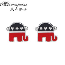 2016 Brand New Cufflinks Cool Boy Fine Jewelry Flag Elephant Novelty Luxury For Mens Boyfriend Gifts Christmas Black And Red