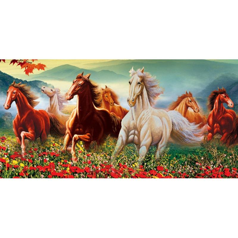 "Round DIY Diamond Painting Stisth Diamond Embroidery ""Color Horse Running"" Rhinestone Mosaic Home Decorative Wall Stickers"