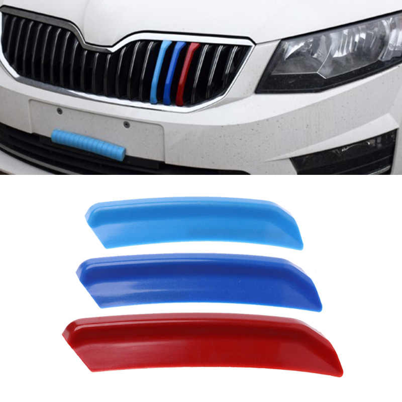 Car-styling 3Pcs/set 3D Car Front Grilles Trim Sport Strips Cover For Skoda Rapid Spaceback/Rapid dropshipping