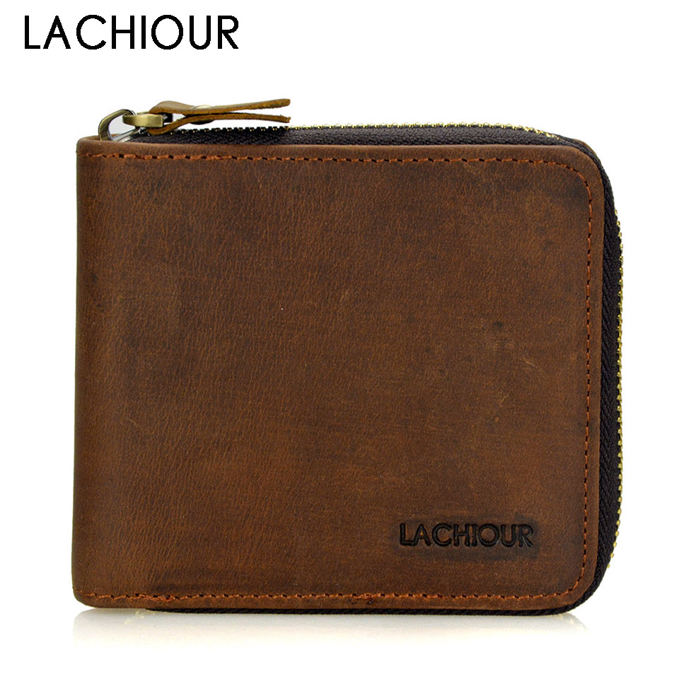 2018 New Crazy Horse Leather Men Wallets Vintage Genuine Leather Wallet For Men Cowboy Top Leather Thin Male Purse Wallet wallet