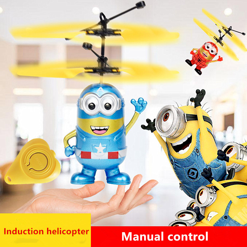Minion Fly Flashing helicopter Hand Control RC Toys Minion Helicopter Quadcopter Drone Ar drone with LED