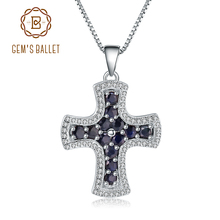 Gems Ballet Natural Blue Sapphire 925 Sterling Silver Cross Pendant Necklaces for Women Sterling Silver Fine Jewelry Collares