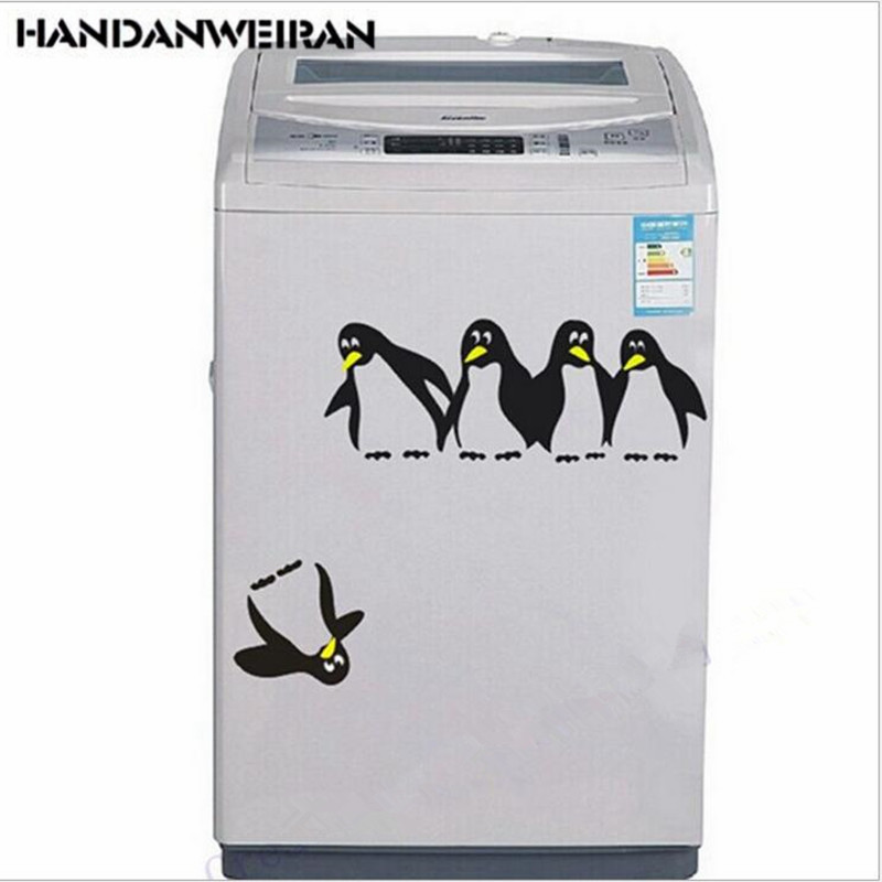 one pieces Fun Penguin Fridge Sticker Cartoon Animal Washer Sticker Home Decor for bathroom black white 2019 hot selling in Wall Stickers from Home Garden