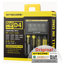 Nitecore شاحن بطارية D4 18650 ، أصلي ، مع شاشة LCD ، لـ IMR ، li ion ، LiFePO4 ، Ni MH ، Ni Cd ، 26650 ، 18650 ، 14500