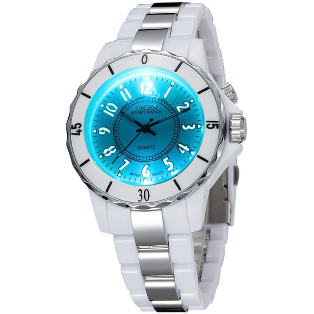 Fashion Hodinky Women's White Luxury Waterproof Sports Watches 7 Multi-color Led