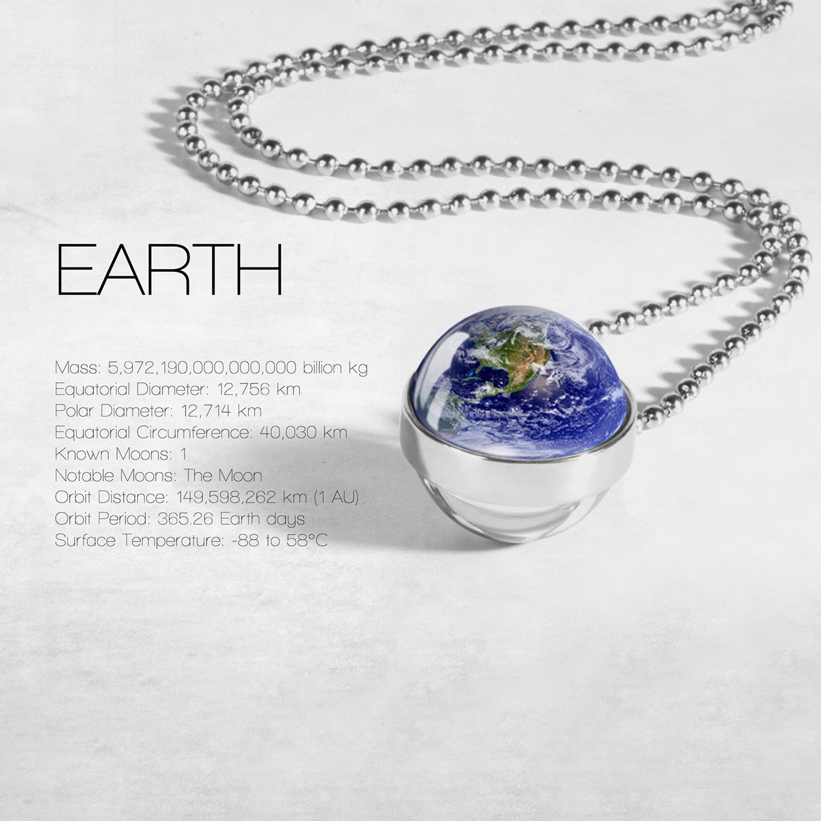 Globe Double Sided Necklace Solar System Planet Venus Mercury Mars Saturn Uranus Neptune Earth Sun Pendant Dome Glass Necklaces 2
