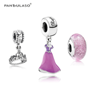 Princess Rapunzel Party Dress Charm Heart Crown Signature Murano Glass Beads for Silver 925 Beaded Bracelets DIY Jewelry Making