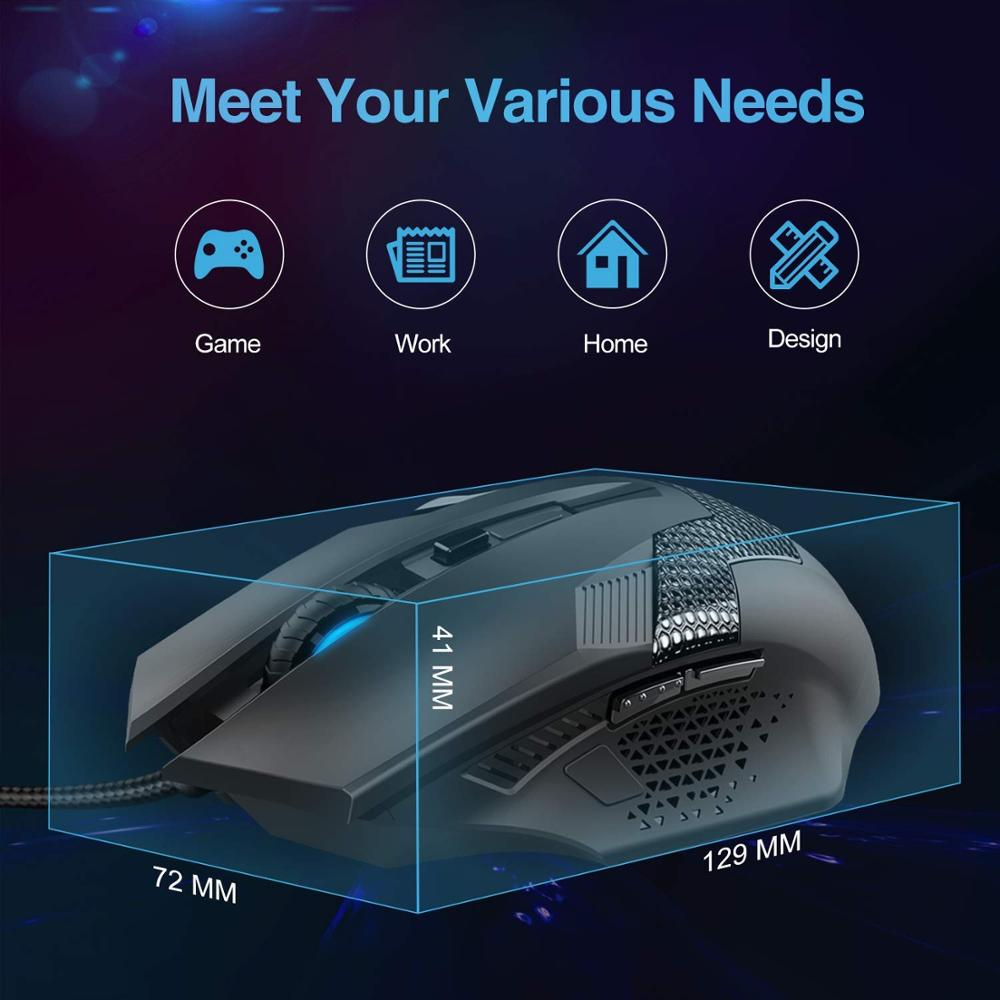 Image 4 - TeckNet Wired Gaming Mouse Ergonomic Mice 6 Button Optical Computer Mouse 2000dpi USB Wired PC Mouse for Computer Laptop PC-in Mice from Computer & Office