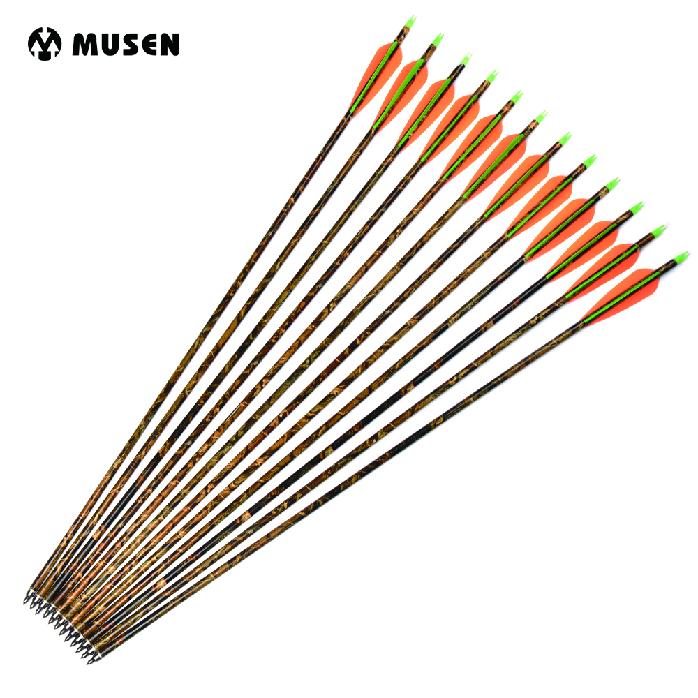 6/12/24pcs 30 Inches Spine 300 Camouflage Aluminum Arrow With 2 Orange 1 Green Feather For Compound Bow Hunting Shooting Archery