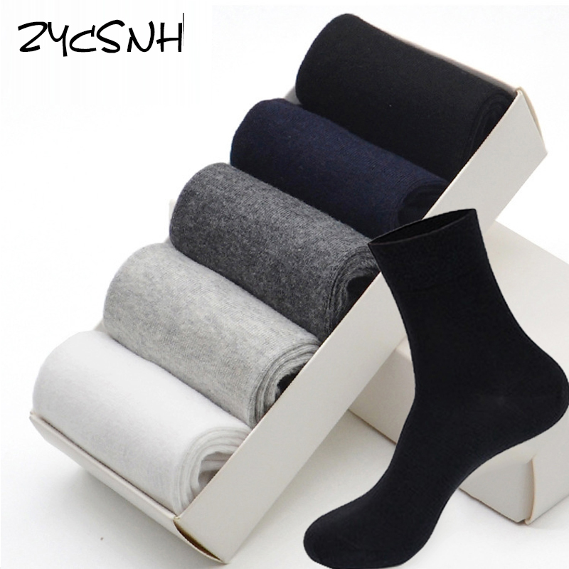5 Pairs/lot Cotton Men Socks Winter Mens Dress Socks Black White Grey Business Leisure Absorption Breathable Man Sock For Gift