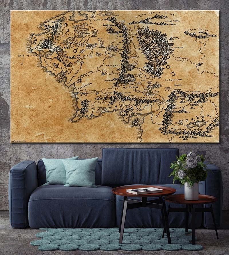 Map of Middle Earth Canvas Decor Map Movie Lord of the Rings LOTR Map Poster Canvas Map Decor Print Print For Home Home Decor image