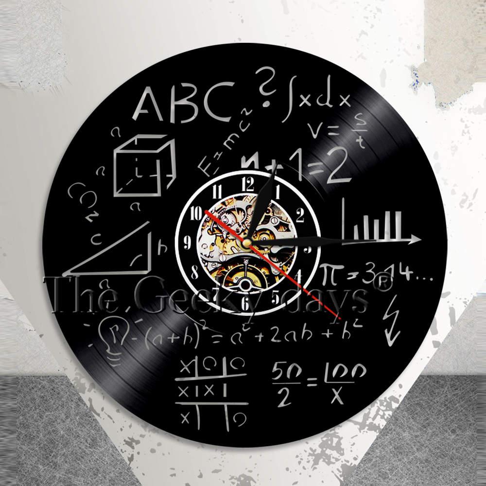 Science Art Math Equation Wall Clock Math Formula Vinyl Record Wall Clock Math Pi Geek School Wall Decor Math Teacher Gift