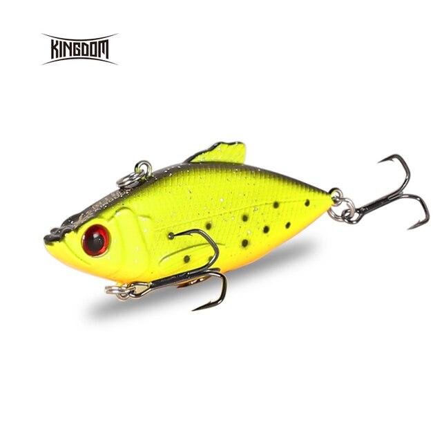 Kingdom Fishing Lures 50m 5.6g, 65mm 10.5g Crankbaits Fishing Small Leaves VIB Vibration Fishing Bait Tackle VMC Hook wobblers 1