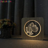 Modern Minimalist 3D Wooden Desk Table Lamp Dog Style Bedside Lamp Nordic Style Creative Decorative Night Light