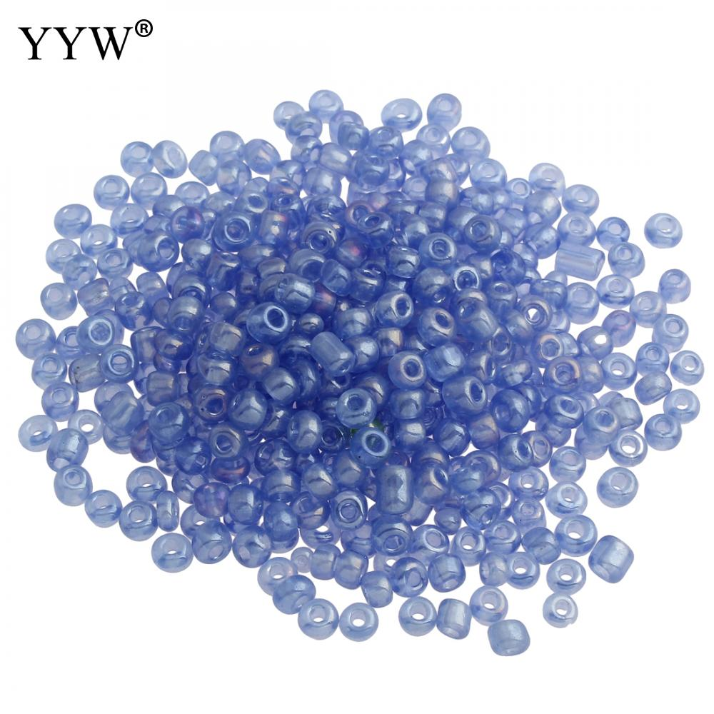 Wholesale NEW 4MM 200pcs Glass With Seed Spacer beads Jewelry Fitting Light blue